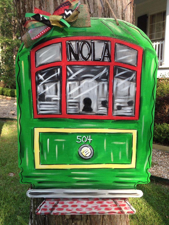 New Orleans Streetcar Door Hanger Wreath Nola Louisiana
