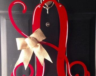 Monogram Initial, Single Letter Monogram Door Hanger, Wooden Monogram Vine, Shabby Chic Door Hanger