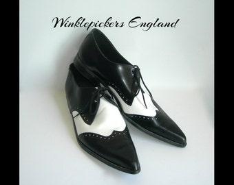 X* Uk 11~Rare Winklepickers Spectator Black and White Leather Wood Stacked Heels -- (size 11 UK) = (size 12 US Mens)
