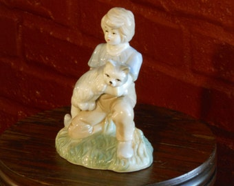 A Girl and Her Cat Figurine. Original ArtMark. Made in Taiwan.
