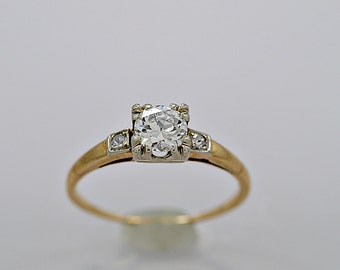 Vintage Engagement Ring .65ct. Diamond & Yellow Gold Art Deco - J34085