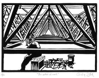 "Geometric welder print, ""The artist at work"", handmade lino print of man welding Amsterdam RAI, Escher-like timber structure. Unmounted."