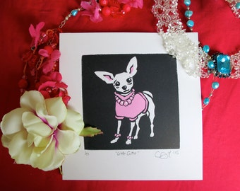 """Cute pink chihuahua, """"Little Cutie"""", handmade linoprint, limited edition of 17 original signed two-colour linoprints, unframed, unmounted."""