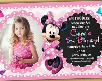 Minnie mouse Birthday Invitation, Minnie mouse Invitation, Minnie mouse chalkboard invitation, new 2 - Digital file