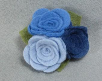 Felt Flower Brooch Made-to-Order - Blue Flower Pin, Felt Pin, Felt Brooch, Fabric Flower, Felt Flower Pin, Felt Jewelry, Rose Brooch, Rose