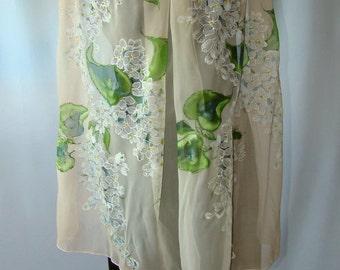 Shawl.Natural silk shawl - floral, ivory - white, hand painted shawl., white lilac