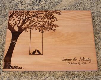 Personalized Cutting Board Cat Lover Gift Custom Wedding Anniversary Kitchen Art Housewarming Bridal Shower
