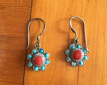 Turquoise coral and silver earrings