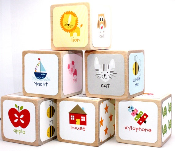 wood blocks alphabet blocks abc baby shower gift table