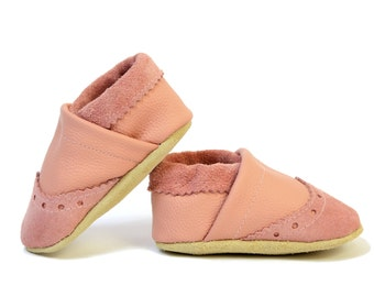 Baby Boy Brogue Leather Slipper Shoes Soft-Sole infant gift pink Size 3 - 7