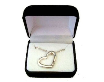 Mom Heart Necklace Silver in Fancy Gift Box for Mother's Day