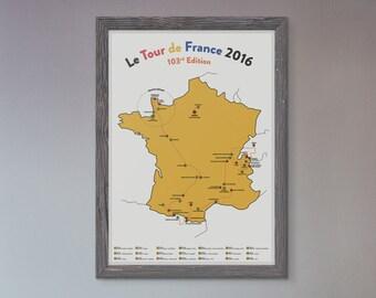 Tour de France 2016 Map - Unique Poster Print - Le Tour de France 2016 - TdF Cycling Art Illustrated in the UK