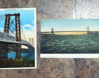 SALE/Antique Postcards of the Williamsburg Bridge, NYC; Unused/set of two/1900's/gift