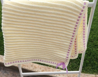 Baby First Blanket with Purple Ribbon