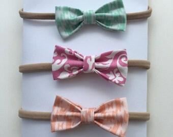 Adorable!! 3pc.set mini bows on nylon headbands!!!!