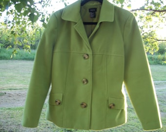 Pretty Retro 90s Yummy LIME GREEN COAT, size 12