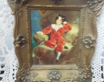 Vintage The Red Boy By Gainborough Made in England Ornate Frame Vintage Red Boy