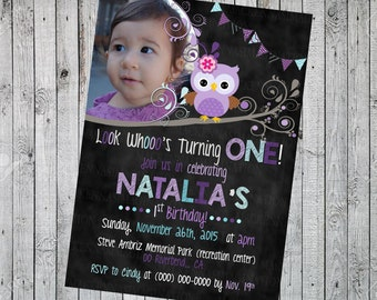 Look Whoo's Turning One Birthday Invitation-DIGITAL