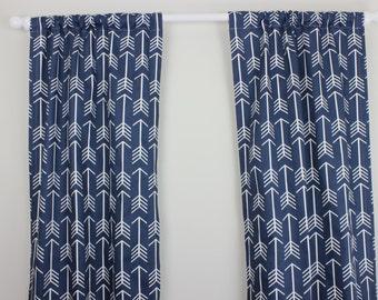 Arrow Curtain Panel Set Navy Blue Arrow Curtain Panels Navy and White Arrow Nursery Curtains Set of 2