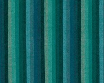 MULTI STRIPE DEEPSEA Woven wmultix.limex  by  Kaffe Fassett fabric sold in 1/2 yard increments