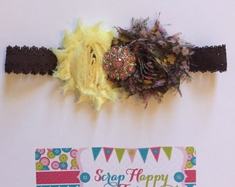 Yellow, Pink, and Brown Shabby Flower Headband