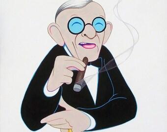 George Burns original acrylic painting by Disney Artist Dave Woodman