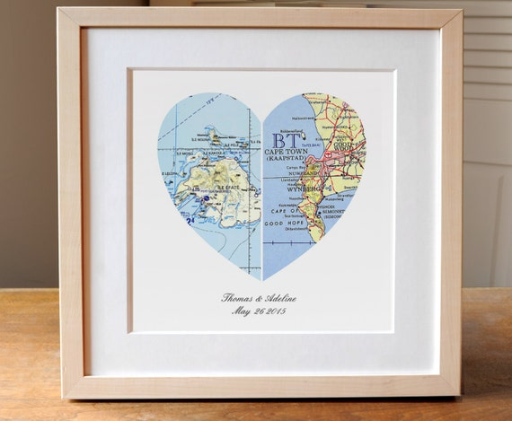 Wedding Gift, Heart Map Wedding Gift Art, Anniversary Gift, Custom ...