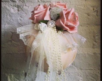 Wedding pomander in blush pink with silk roses, lace, pearl and diamante details