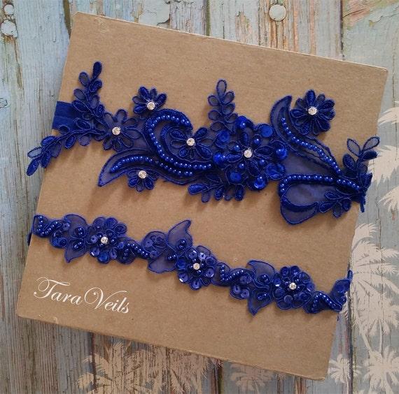 Wedding Garter Set Royal Blue Garter Rhinestone Royal By