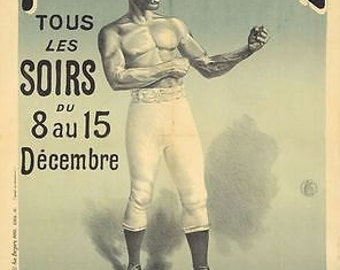 Vintage Folies Bergere Bare Knuckle Boxing Poster A3 Print