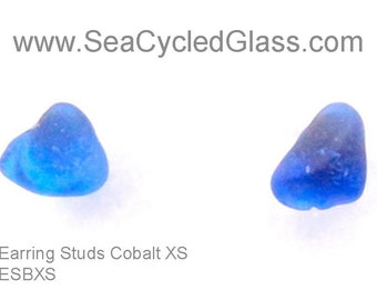 Cobalt Blue Cape Breton, Nova Scotia sea glass earring studs on surgical steel posts with butterfly clutch