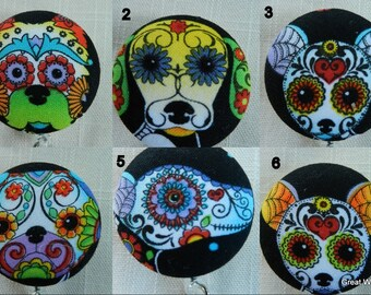 Day of the dead puppy dogs Retractable ID Name Badge Holder Reel