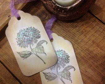 Purple Hydrangea Gift/Wedding Tree Tags - Set of 10