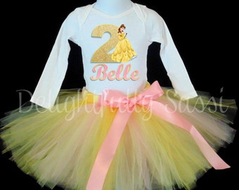 Belle Birthday Tutu, Beauty and The Beast Tutu Set, Birthday Tutu Outfit, Belle Tutu, Disney Princess Tutu
