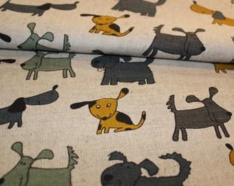 Linen - cotton fabric with dogs