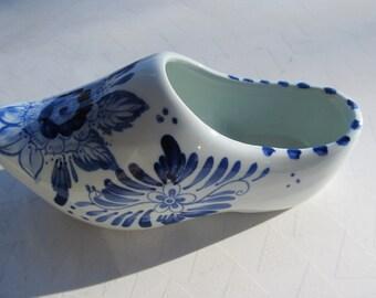 Hand Painted Vintage Delft Shoe Planter