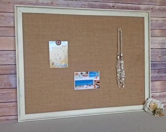 White bulletin board - shabby chic decor - framed cork board - large size