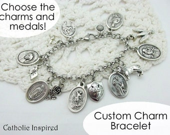 Design Your Own Charm Bracelet - Choose the Saint Medals & Charms - Create Custom Customize Christian Catholic Jewelry - Stainless Steel