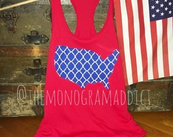 Ragged Edge America TankTop // 4th of July// Memorial Day// Red White & Blue