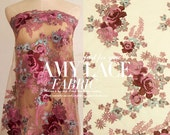 Embroidery Peony Lace Fabric Lace Dress Skirt Fabric Wedding Dress Fabric lace fabric- 130cm x 50cm - R5