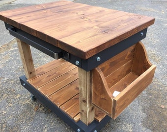 Handmade solid wood chunky butchers block style cart kitchen island