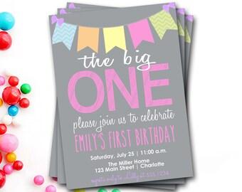 The Big One Birthday Invitation, First Birthday Invitation, Girl Birthday, 1st Birthday Invitation, First Birthday Invite, DIY Printable