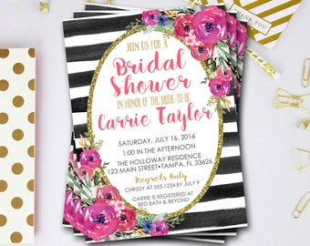 Flower Bridal Shower Invitation, Pink And Gold Bridal Shower Invitation, Glitter Bridal Shower Invitation, Glitter Invite, DIY Printable