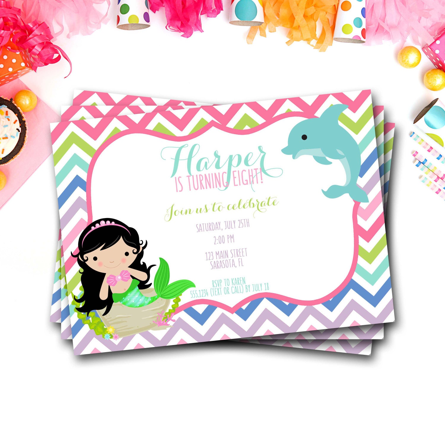 Mermaid Birthday Invitation Mermaid Invitation Dolphin