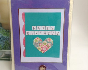 Handmade Birthday Card - Purple and green design with button