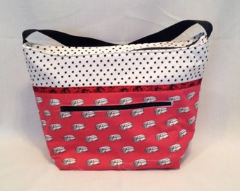 """Lunch Bag: """"Lunch Van"""" washable insulated lunch bag with a zipper front pocket and zippered top closure."""