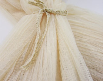 "Lace Fabric Beige Fold Ruffled Tulle Wedding Fabric 61"" width 1 yard"