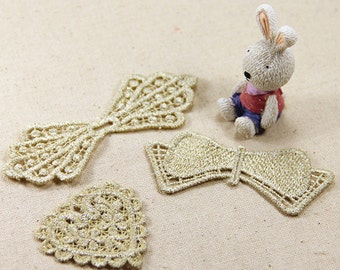 1 set Lace Appliques Cotton Gold Bowknot Heart Embroidered Patches