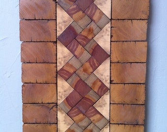 Reclaimed Oak/Poplar Wood Wall Art Hanging   14.5 X 24