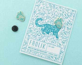 Cat Lady Hard Enamel Pin - Mint and Gold